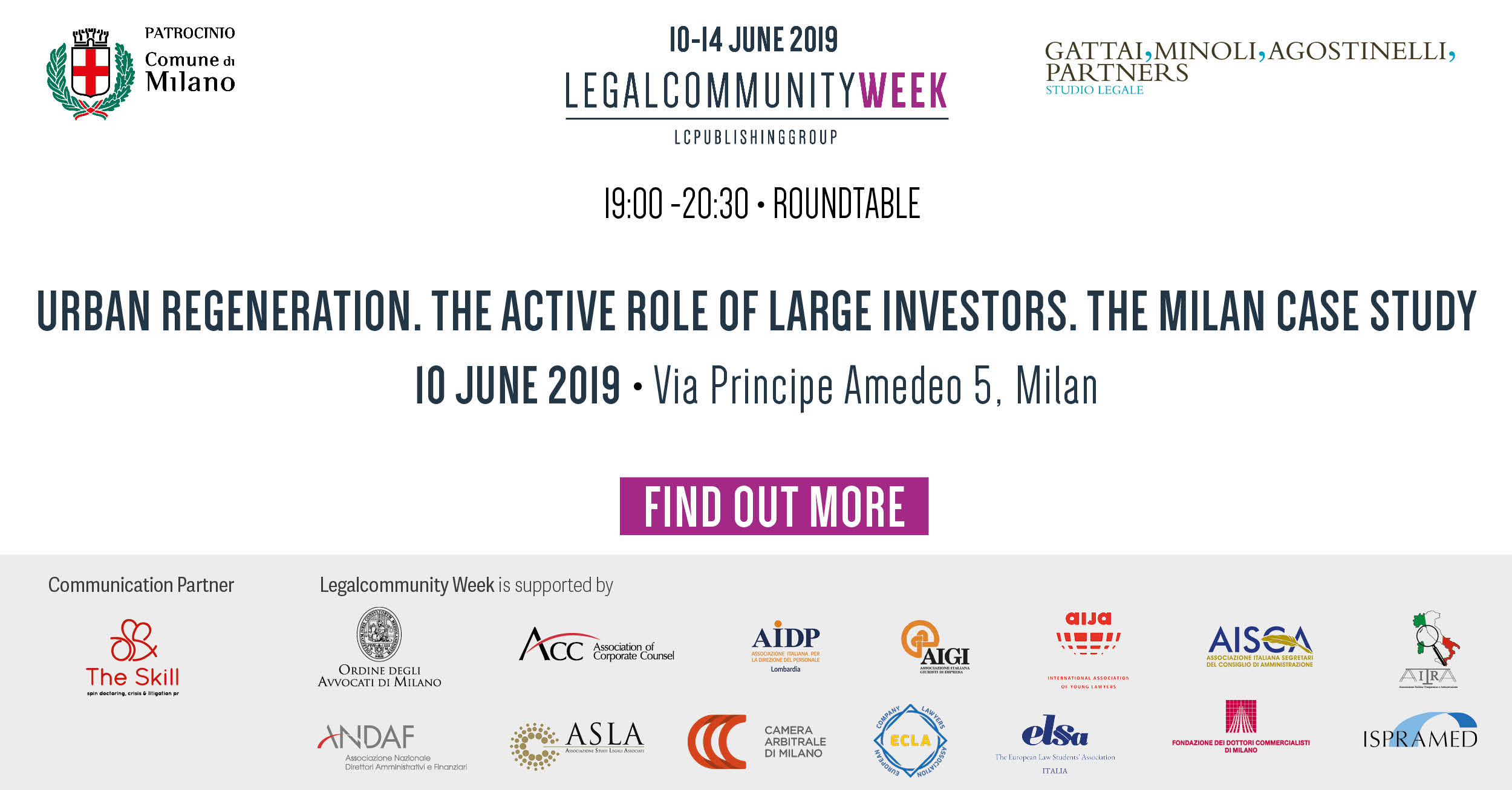 """ROUNDTABLE """"Urban regeneration. The active role of large investors. The Milan case study"""""""